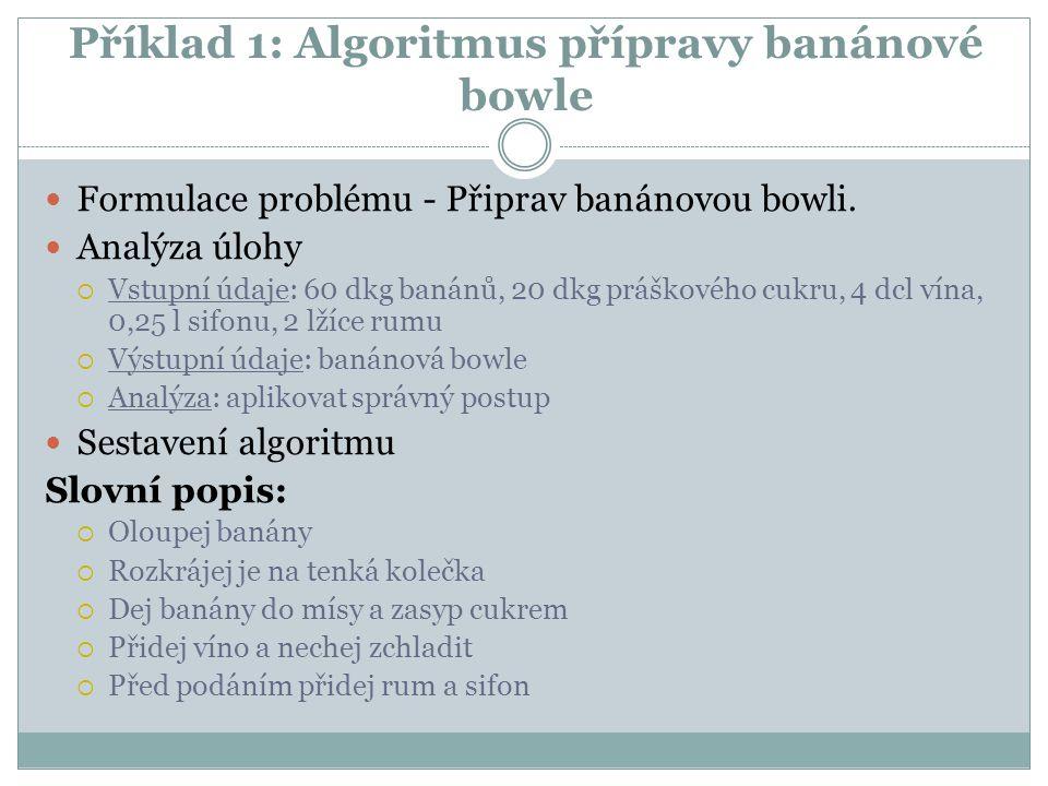 Příklad 1: Algoritmus přípravy banánové bowle Formulace problému - Připrav banánovou bowli. Analýza úlohy  Vstupní údaje: 60 dkg banánů, 20 dkg prášk