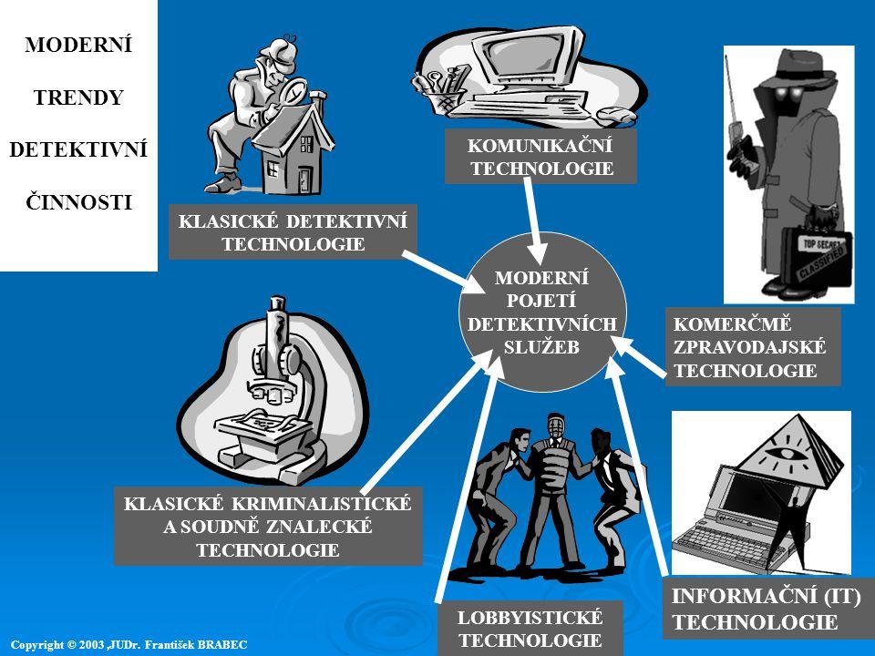 KLASICKÉ DETEKTIVNÍ TECHNOLOGIE KOMUNIKAČNÍ TECHNOLOGIE KOMERČMĚ ZPRAVODAJSKÉ TECHNOLOGIE KLASICKÉ KRIMINALISTICKÉ A SOUDNĚ ZNALECKÉ TECHNOLOGIE INFOR