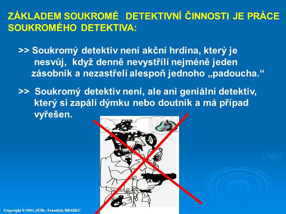 ZÁKLADEM SOUKROMÉ DETEKTIVNÍ ČINNOSTI JE PRÁCE SOUKROMÉHO DETEKTIVA: >> Soukromý detektiv není akční hrdina, který je nesvůj, když denně nevystřílí ne