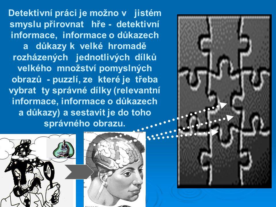 Detektivní práci je možno v jistém smyslu přirovnat hře - detektivní informace, informace o důkazech a důkazy k velké hromadě rozházených jednotlivých