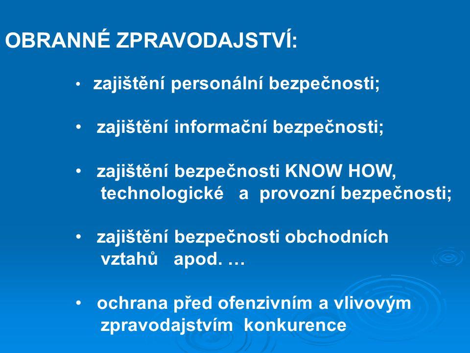 OBRANNÉ ZPRAVODAJSTVÍ: zajištění personální bezpečnosti; zajištění informační bezpečnosti; zajištění bezpečnosti KNOW HOW, technologické a provozní be