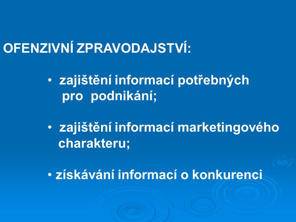 OFENZIVNÍ ZPRAVODAJSTVÍ: zajištění informací potřebných pro podnikání; zajištění informací marketingového charakteru; získávání informací o konkurenci