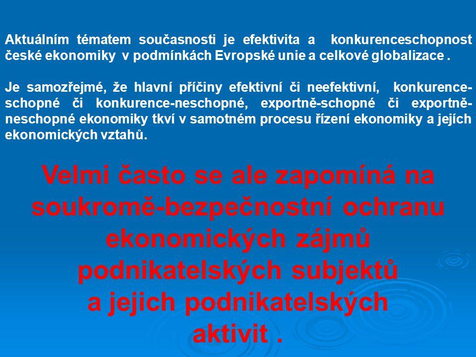 Aktuálním tématem současnosti je efektivita a konkurenceschopnost české ekonomiky v podmínkách Evropské unie a celkové globalizace. Je samozřejmé, že