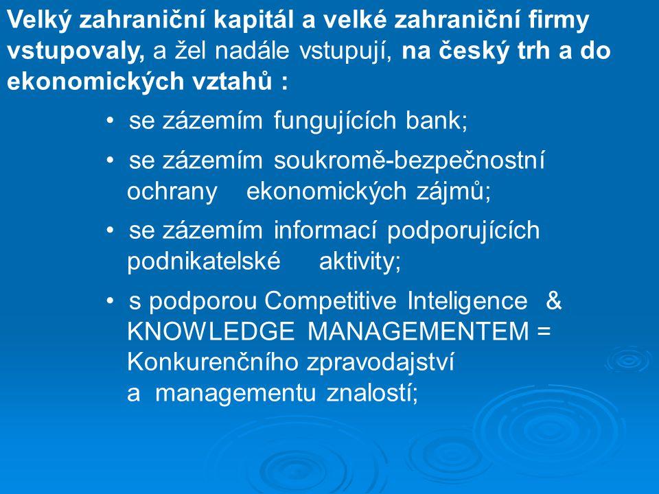 Velký zahraniční kapitál a velké zahraniční firmy vstupovaly, a žel nadále vstupují, na český trh a do ekonomických vztahů : se zázemím fungujících ba