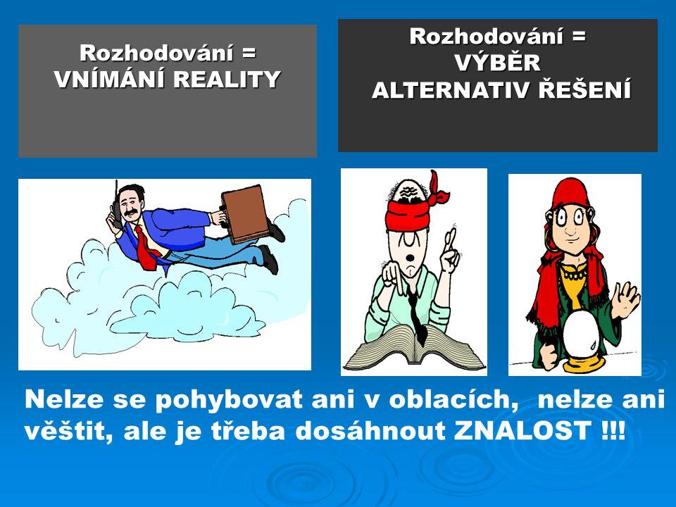 Rozhodování = VNÍMÁNÍ REALITY Rozhodování = VÝBĚR ALTERNATIV ŘEŠENÍ Nelze se pohybovat ani v oblacích, nelze ani věštit, ale je třeba dosáhnout ZNALOS