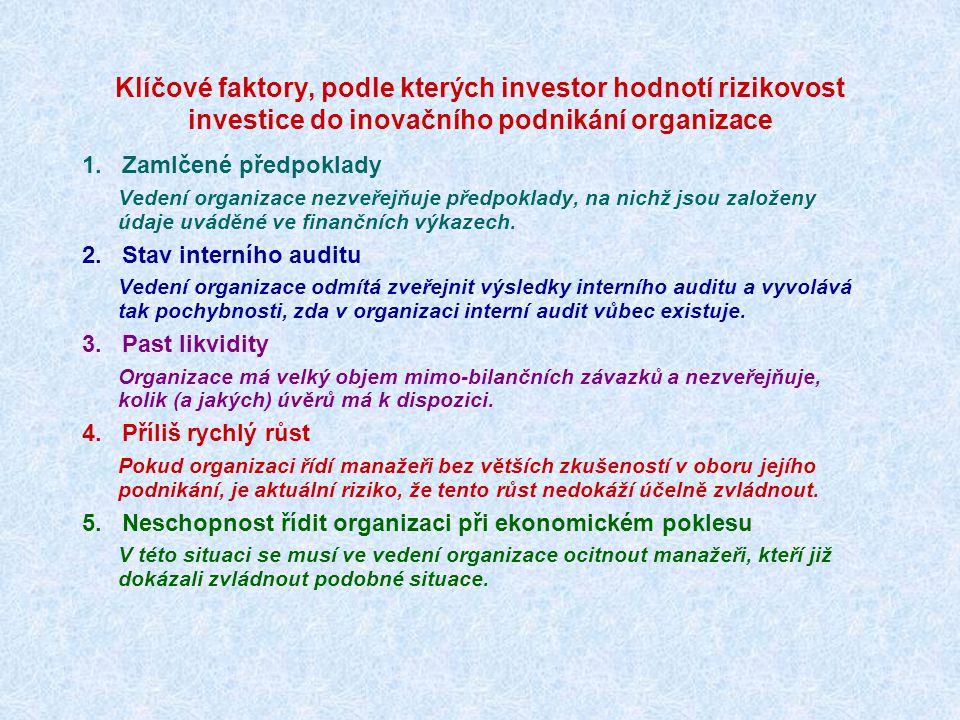 Jak na investici do realizace inovačního záměru nahlíží potenciální finanční investor.