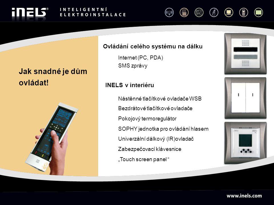 Internet (PC, PDA) SMS zprávy Nástěnné tlačítkové ovladače WSB Bezdrátové tlačítkové ovladače Pokojový termoregulátor SOPHY jednotka pro ovládání hlas