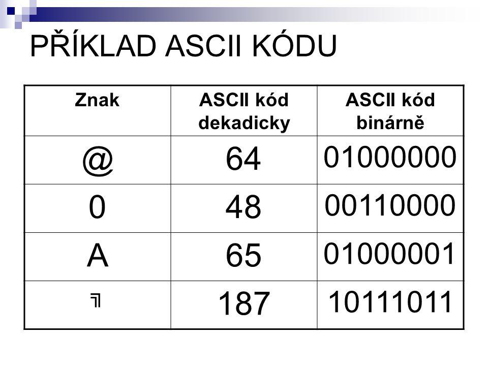 PŘÍKLAD ASCII KÓDU ZnakASCII kód dekadicky ASCII kód binárně @64 01000000 048 00110000 A65 01000001 ╗ 187 10111011