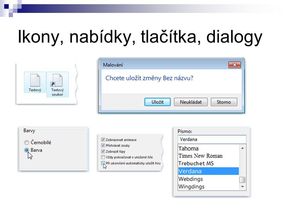 Ikony, nabídky, tlačítka, dialogy
