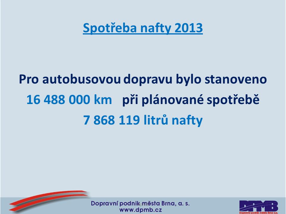Spotřeba nafty 2013 Pro autobusovou dopravu bylo stanoveno 16 488 000 km při plánované spotřebě 7 868 119 litrů nafty dpmb