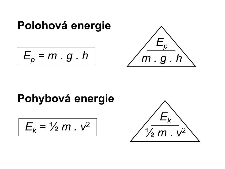 Polohová energie Pohybová energie E p = m. g. h E p m. g. h E k = ½ m. v 2 E k ½ m. v 2
