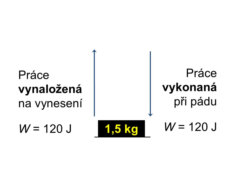 Práce vynaložená na vynesení W = 120 J Práce vykonaná při pádu W = 120 J 1,5 kg