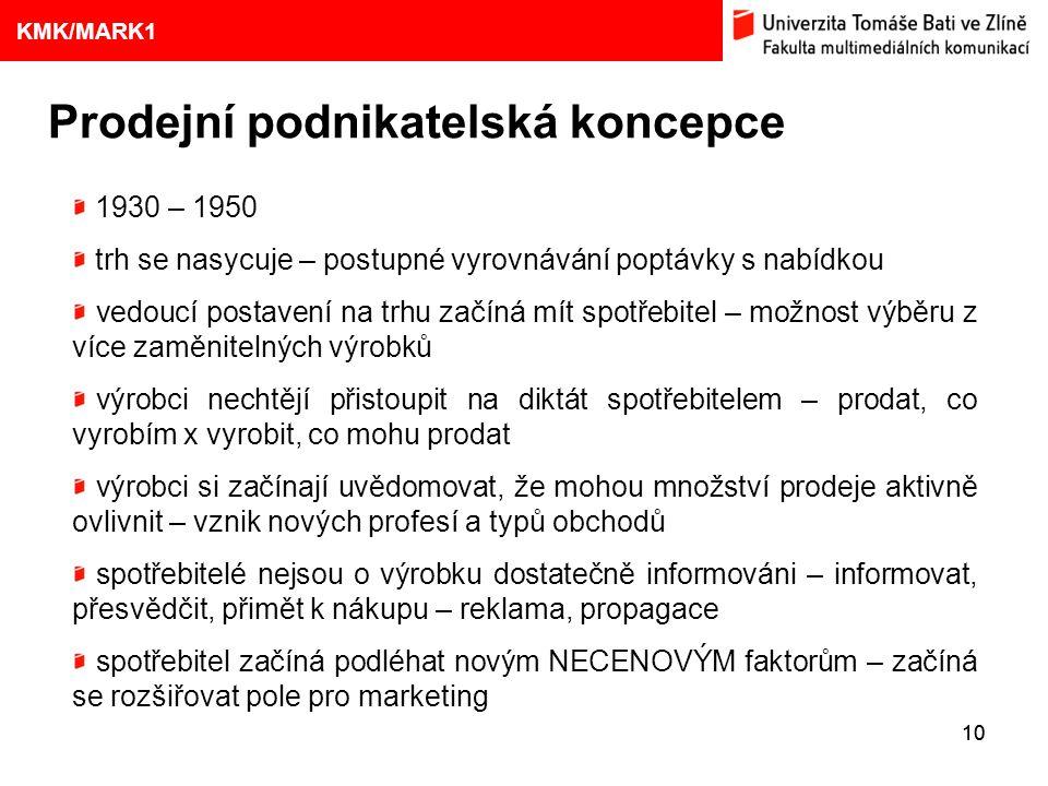 1. VÝVOJ MARKETINGOVÝCH KONCEPCÍ 10 Eliška Kubíčková: Kulturní aspekty TV reklamy na pivo Prodejní podnikatelská koncepce 9 KMK/MARK1 1930 – 1950 trh