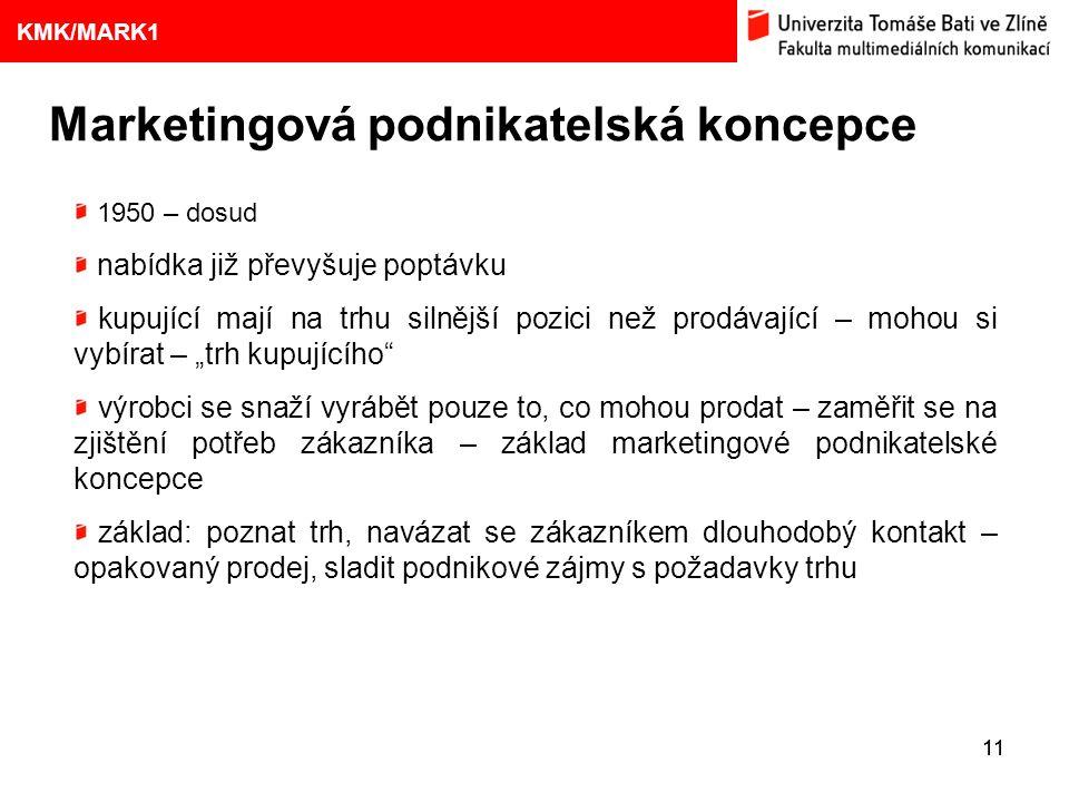 1. VÝVOJ MARKETINGOVÝCH KONCEPCÍ 11 Eliška Kubíčková: Kulturní aspekty TV reklamy na pivo Marketingová podnikatelská koncepce 9 KMK/MARK1 1950 – dosud