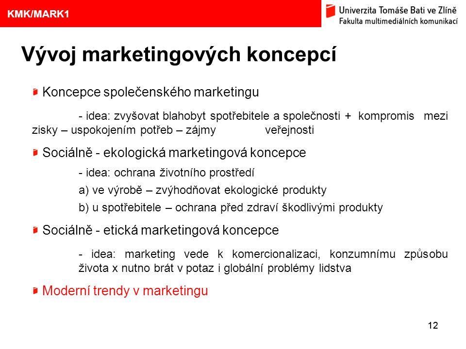 1. VÝVOJ MARKETINGOVÝCH KONCEPCÍ 12 Eliška Kubíčková: Kulturní aspekty TV reklamy na pivo Vývoj marketingových koncepcí 9 KMK/MARK1 Koncepce společens