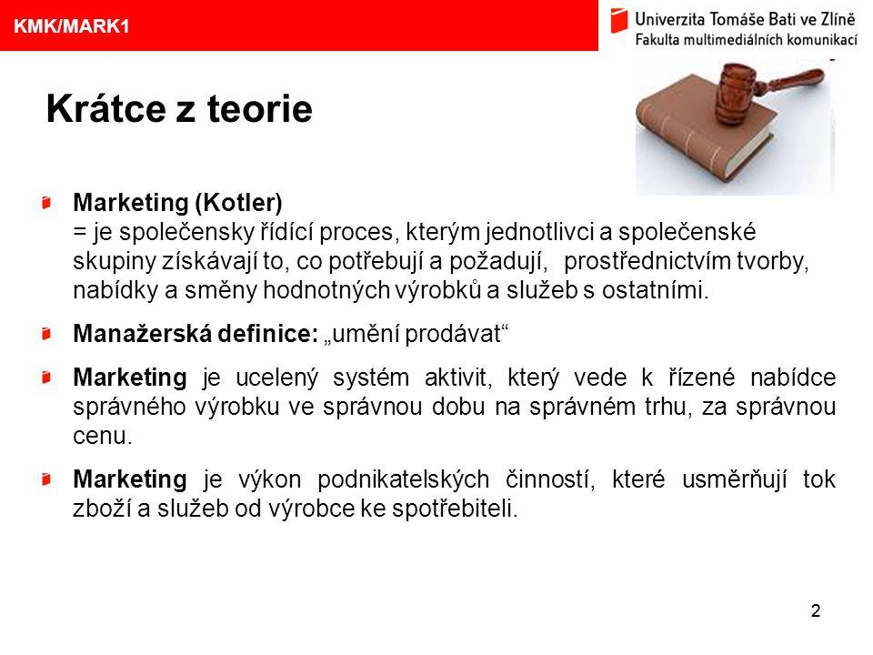 1. VÝVOJ MARKETINGOVÝCH KONCEPCÍ 22 KMK/MARK1 Krátce z teorie Marketing (Kotler) = je společensky řídící proces, kterým jednotlivci a společenské skup