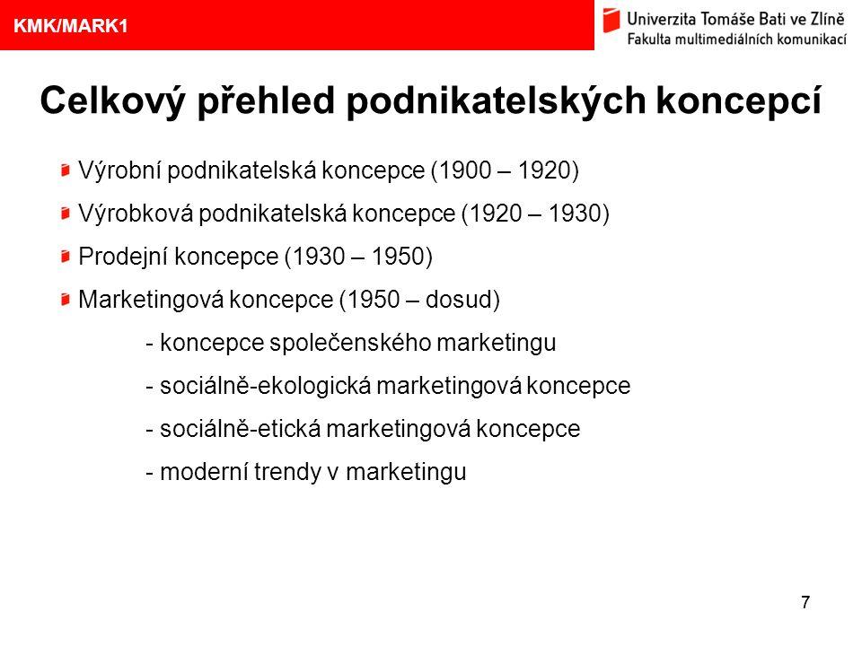 1. VÝVOJ MARKETINGOVÝCH KONCEPCÍ 77 Eliška Kubíčková: Kulturní aspekty TV reklamy na pivo Celkový přehled podnikatelských koncepcí 9 KMK/MARK1 Výrobní