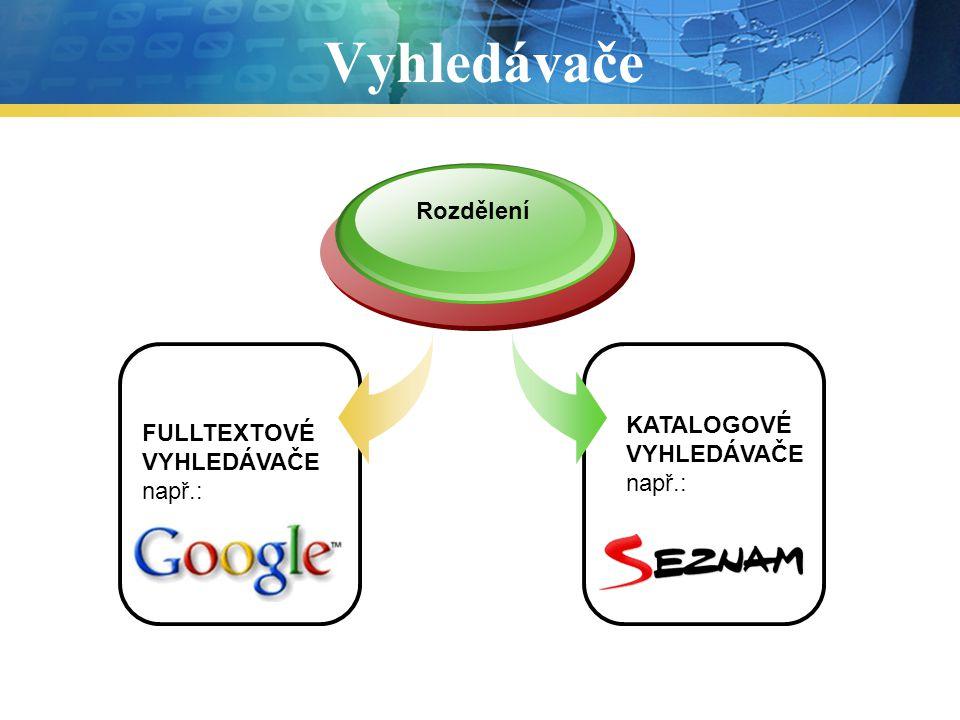Fulltextové vyhledávače Zadat www adresu fulltextového vyhledávače (např.: www.google.cz) 1.