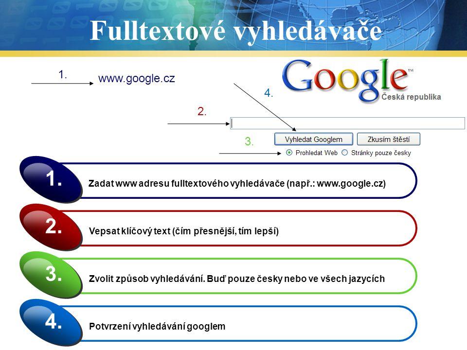 Fulltextové vyhledávače Zadat www adresu fulltextového vyhledávače (např.: www.google.cz) 1. Vepsat klíčový text (čím přesnější, tím lepší) 2. Zvolit