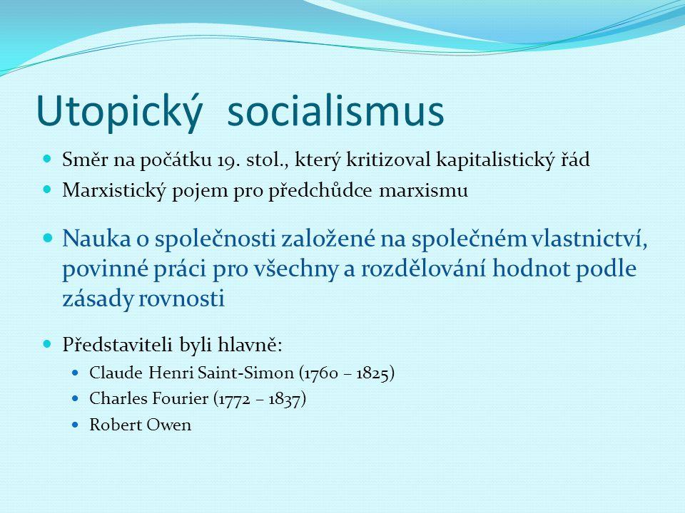 Utopický socialismus Směr na počátku 19. stol., který kritizoval kapitalistický řád Marxistický pojem pro předchůdce marxismu Nauka o společnosti zalo