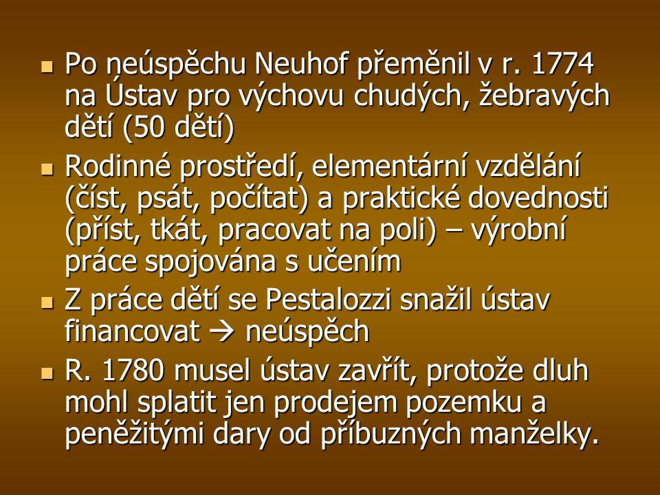 Po neúspěchu Neuhof přeměnil v r. 1774 na Ústav pro výchovu chudých, žebravých dětí (50 dětí) Po neúspěchu Neuhof přeměnil v r. 1774 na Ústav pro vých