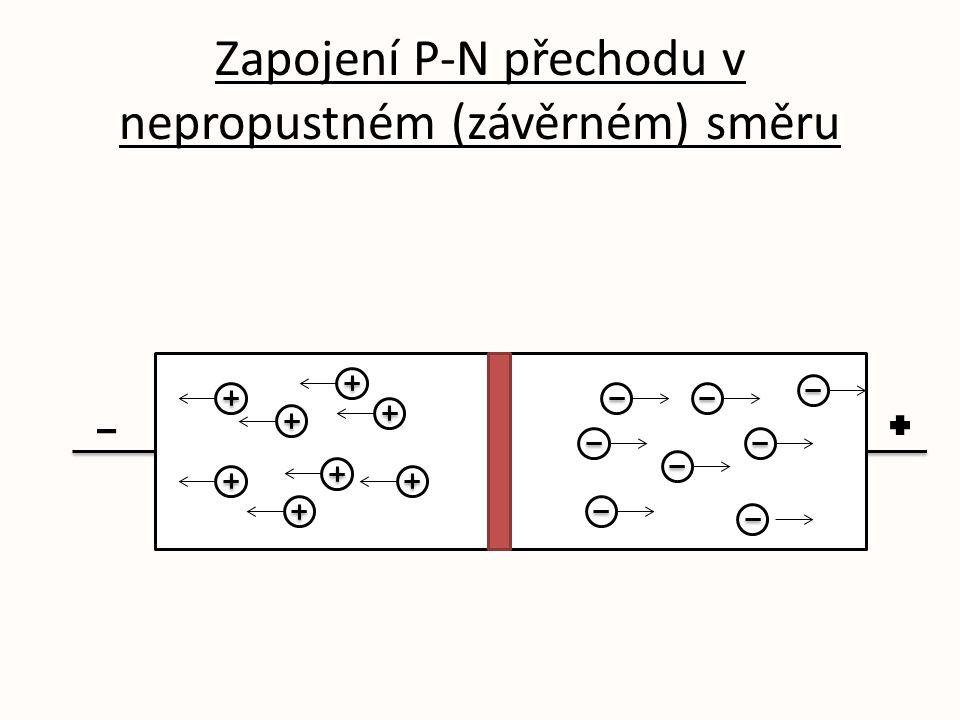 Zapojení P-N přechodu v nepropustném (závěrném) směru