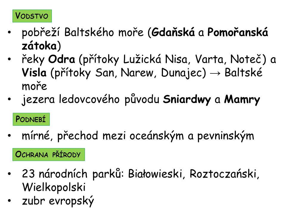 pobřeží Baltského moře (Gdaňská a Pomořanská zátoka) řeky Odra (přítoky Lužická Nisa, Varta, Noteč) a Visla (přítoky San, Narew, Dunajec) → Baltské mo