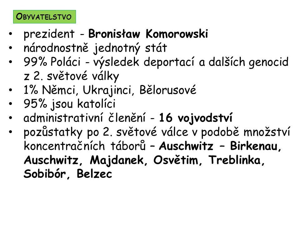 prezident - Bronisław Komorowski národnostně jednotný stát 99% Poláci - výsledek deportací a dalších genocid z 2. světové války 1% Němci, Ukrajinci, B