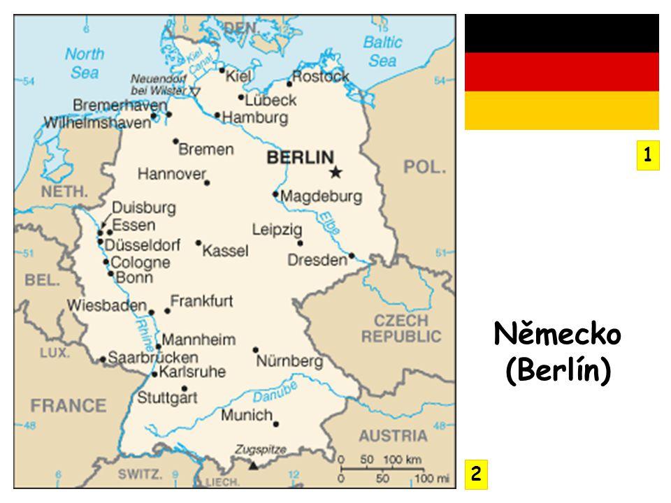 Severoněmecká nížina, Meklenburská jezerní plošina (ledovcová jezera) – obojí modelováno čtvrtohorním ledovcem Středoněmecká vysočina, Harz, Krušné hory, Porýnská břidličná vrchovina, Smrčiny Alpy, vrchol Zugspitze – 2 963 m n.