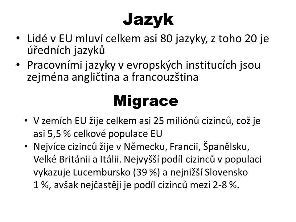 Jazyk Lidé v EU mluví celkem asi 80 jazyky, z toho 20 je úředních jazyků Pracovními jazyky v evropských institucích jsou zejména angličtina a francouz