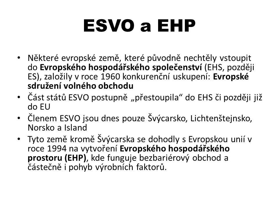 ESVO a EHP Některé evropské země, které původně nechtěly vstoupit do Evropského hospodářského společenství (EHS, později ES), založily v roce 1960 kon