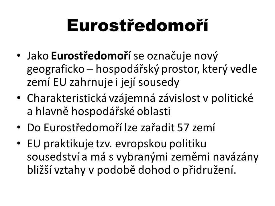 Eurostředomoří Jako Eurostředomoří se označuje nový geograficko – hospodářský prostor, který vedle zemí EU zahrnuje i její sousedy Charakteristická vz
