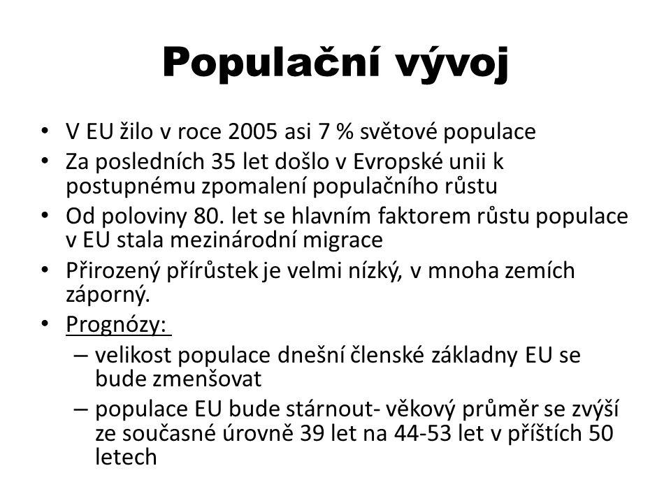 Populační vývoj V EU žilo v roce 2005 asi 7 % světové populace Za posledních 35 let došlo v Evropské unii k postupnému zpomalení populačního růstu Od