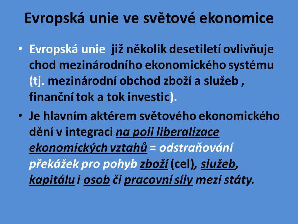 VLIV EU NA MEZINÁRODNÍ EKONOMICKÉ VZTAHY V současném světě patří EU k ekonomickým gigantů, kteří výrazným způsobem ovlivňují toky zboží, služeb i peněz ve světě.