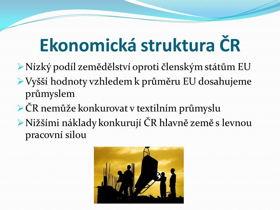 Ekonomická struktura ČR  Nízký podíl zemědělství oproti členským státům EU  Vyšší hodnoty vzhledem k průměru EU dosahujeme průmyslem  ČR nemůže kon