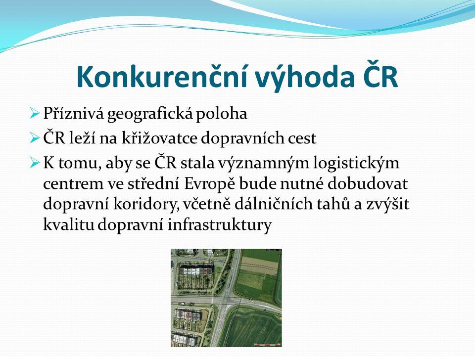 Konkurenční výhoda ČR  Příznivá geografická poloha  ČR leží na křižovatce dopravních cest  K tomu, aby se ČR stala významným logistickým centrem ve