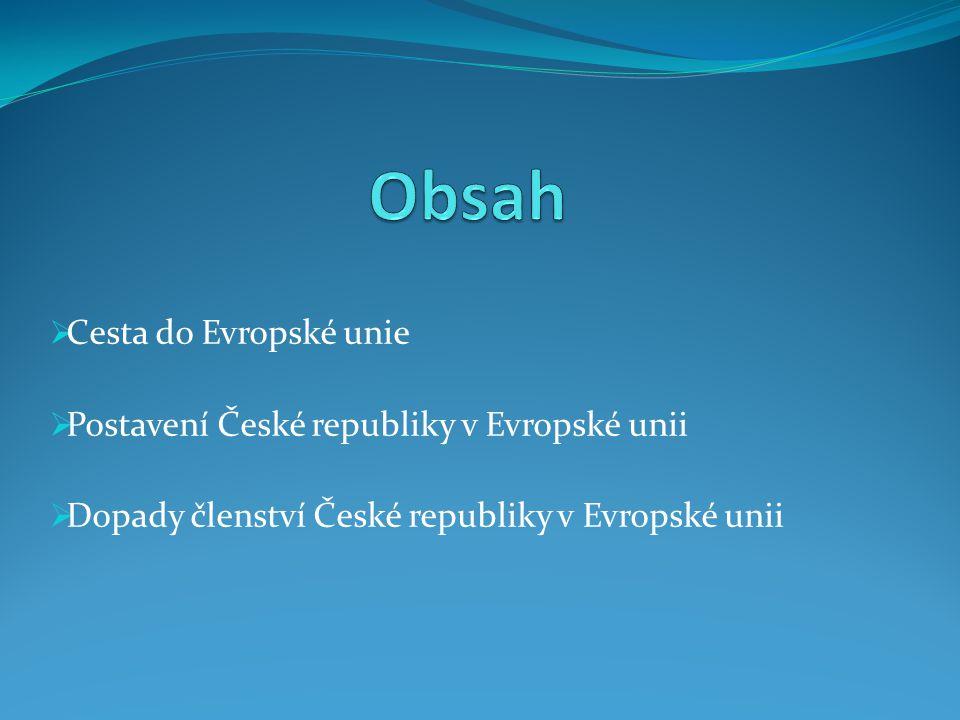  Cesta do Evropské unie  Postavení České republiky v Evropské unii  Dopady členství České republiky v Evropské unii