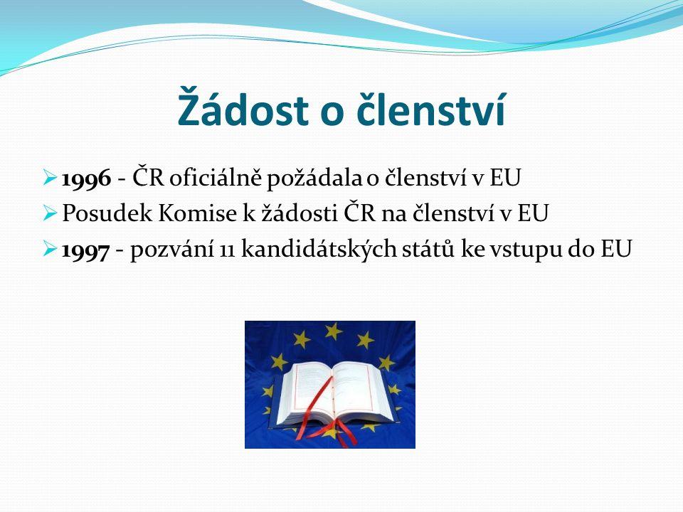 Žádost o členství  1996 - ČR oficiálně požádala o členství v EU  Posudek Komise k žádosti ČR na členství v EU  1997 - pozvání 11 kandidátských stát
