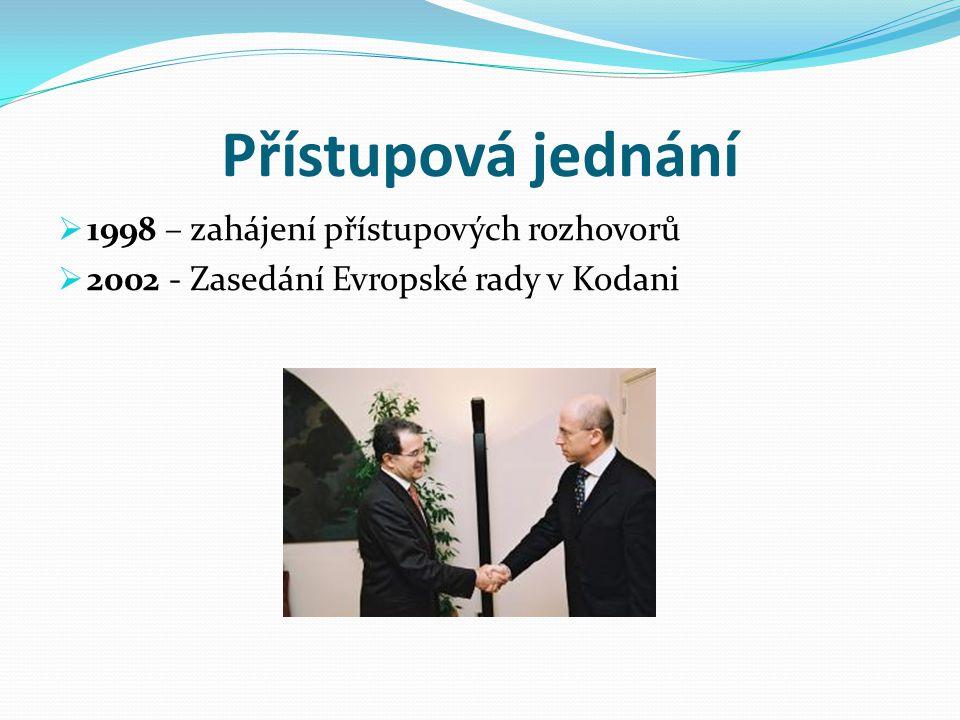 Smlouva o přistoupení  2003 – smlouva předložena Komisi k připomínkám a následně postoupena ke schválení Evropskému parlamentu  16.