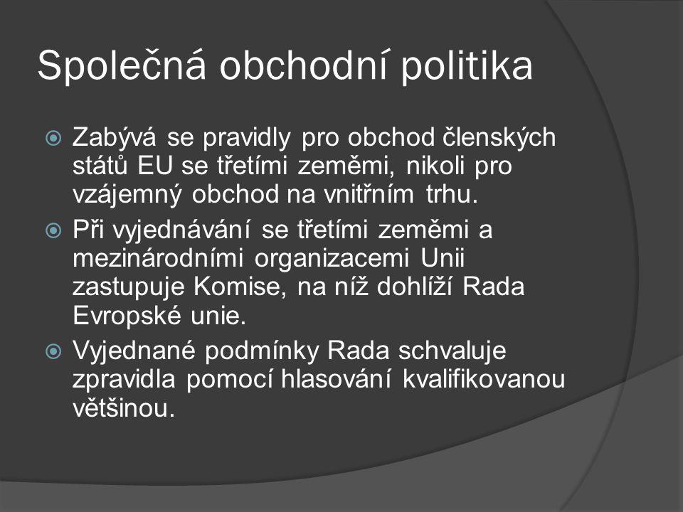 Společná obchodní politika  Zabývá se pravidly pro obchod členských států EU se třetími zeměmi, nikoli pro vzájemný obchod na vnitřním trhu.  Při vy