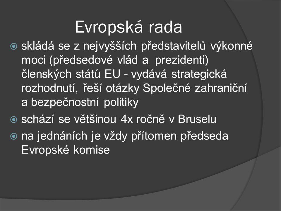Evropská rada  skládá se z nejvyšších představitelů výkonné moci (předsedové vlád a prezidenti) členských států EU - vydává strategická rozhodnutí, ř