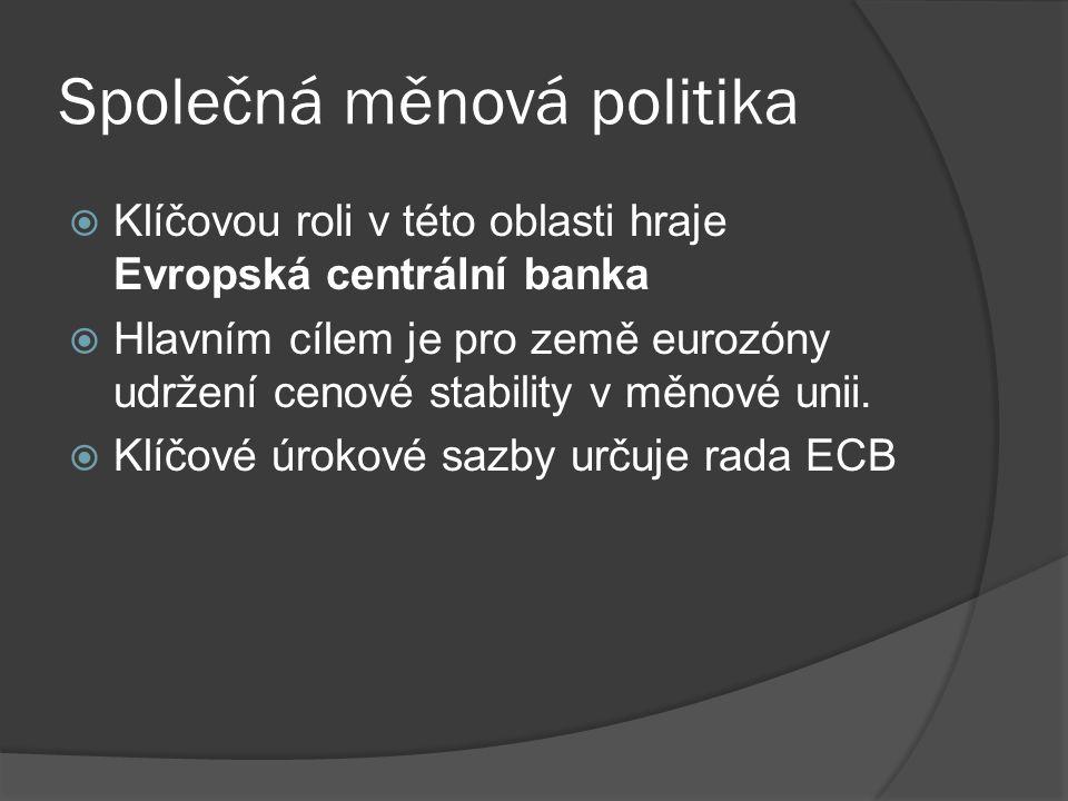 Společná měnová politika  Klíčovou roli v této oblasti hraje Evropská centrální banka  Hlavním cílem je pro země eurozóny udržení cenové stability v