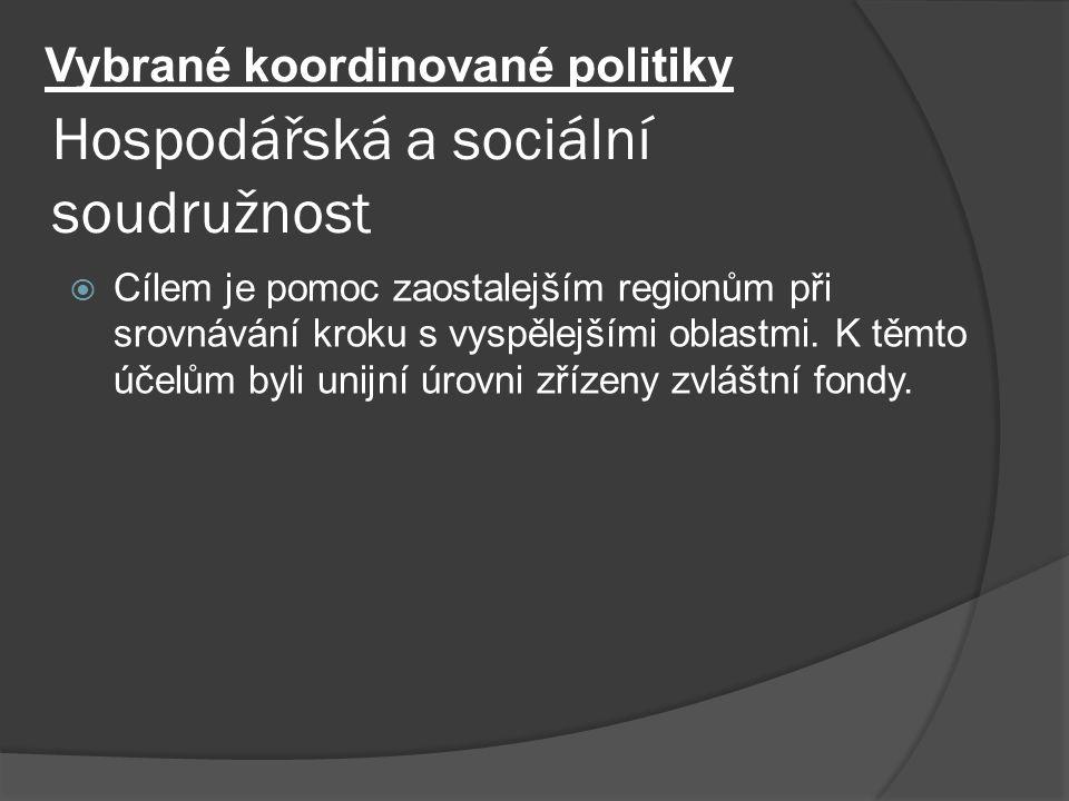 Hospodářská a sociální soudružnost  Cílem je pomoc zaostalejším regionům při srovnávání kroku s vyspělejšími oblastmi. K těmto účelům byli unijní úro