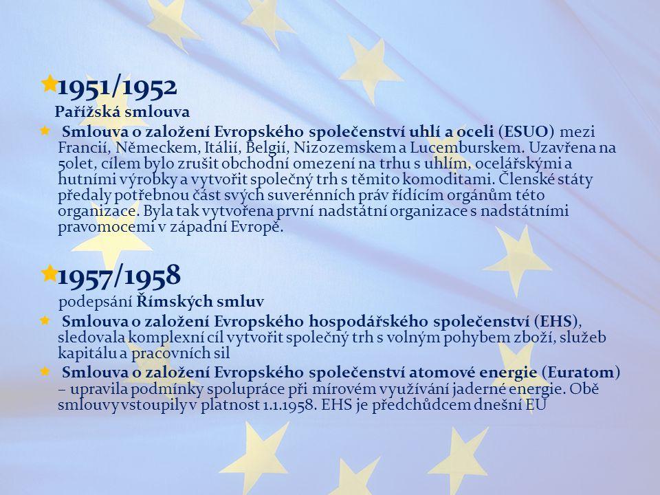  1951/1952 Pařížská smlouva  Smlouva o založení Evropského společenství uhlí a oceli (ESUO) mezi Francií, Německem, Itálií, Belgií, Nizozemskem a Lu