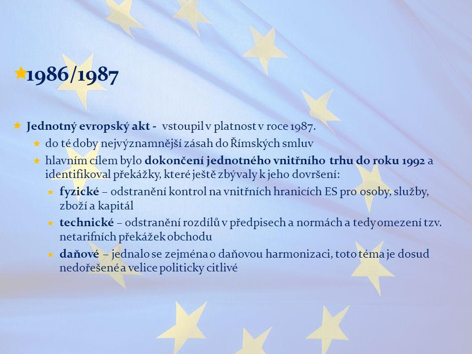  1986/1987  Jednotný evropský akt - vstoupil v platnost v roce 1987.  do té doby nejvýznamnější zásah do Římských smluv  hlavním cílem bylo dokonč