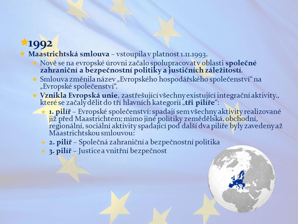  1992  Maastrichtská smlouva – vstoupila v platnost 1.11.1993.  Nově se na evropské úrovni začalo spolupracovat v oblasti společné zahraniční a bez