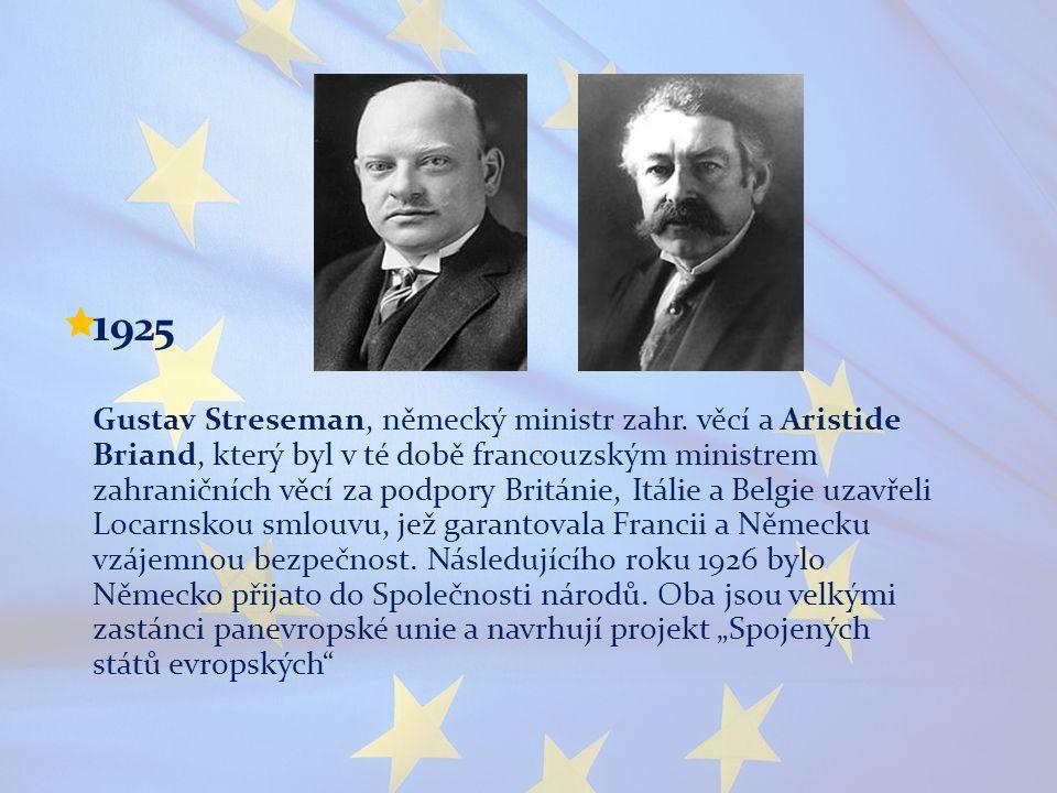  1 925 Gustav Streseman, německý ministr zahr. věcí a Aristide Briand, který byl v té době francouzským ministrem zahraničních věcí za podpory Britán