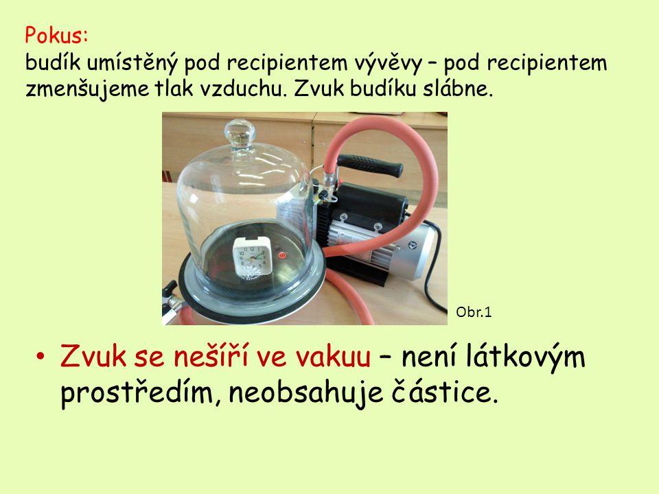 Zvuk se nešíří ve vakuu – není látkovým prostředím, neobsahuje částice.