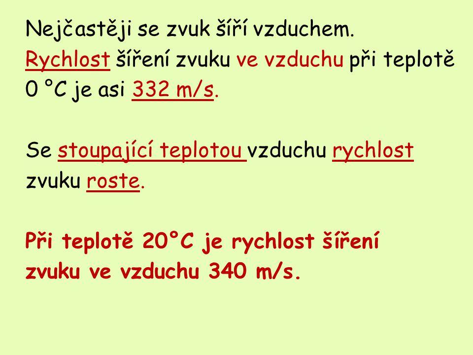 Nejčastěji se zvuk šíří vzduchem.Rychlost šíření zvuku ve vzduchu při teplotě 0 °C je asi 332 m/s.