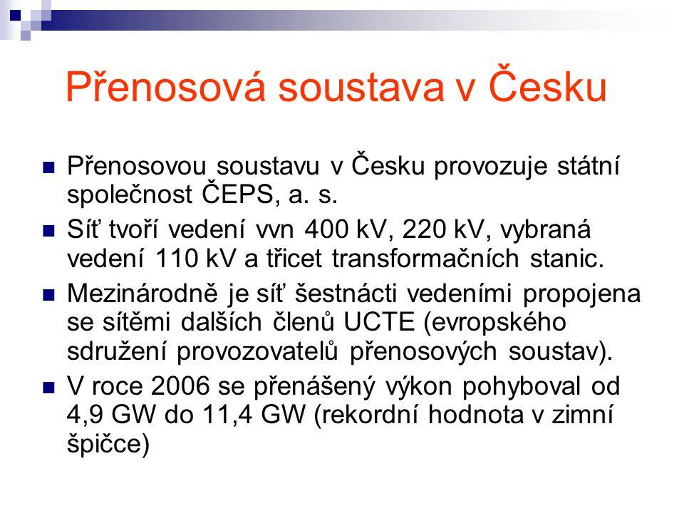 Přenosová soustava v Česku Přenosovou soustavu v Česku provozuje státní společnost ČEPS, a.